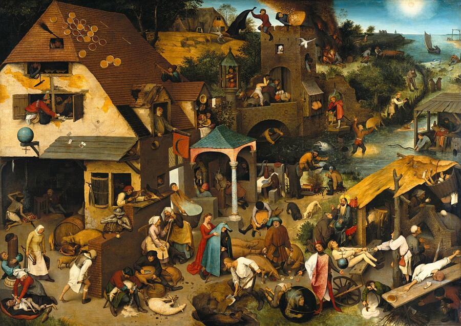 Питер Брейгель Старший, «Фламандские пословицы»,  1559 г.