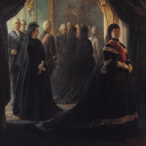 Н. Н. Ге, «Екатерина II у гроба императрицы Елизаветы», фрагмент