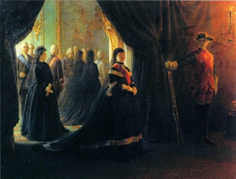 Н. Н. Ге, «Екатерина II у гроба императрицы Елизаветы»