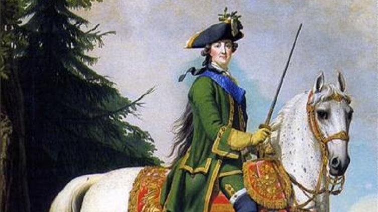 Виргилиус Эриксен, «Конный портрет Екатерины Великой», фрагмент