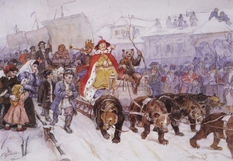 В. И. Суриков, «Большой маскарад в 1772 году на улицах Москвы», 1900 г.