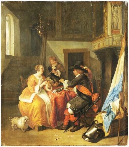 Габриэль Метсю, «Игроки в карты», 1650-е гг.