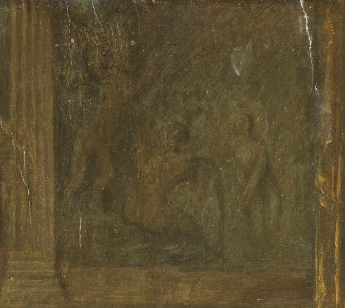 Габриэль Метсю, «Игроки в карты», фрагмент «Купальщицы»