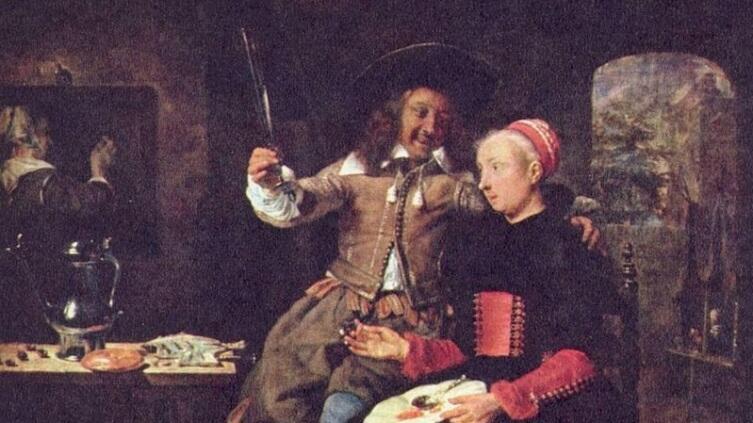 Габриэль Метсю, «Влюбленные за завтраком (Автопортрет с женой)», фрагмент, 1661 г.