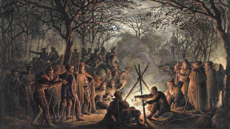Франсуа Жозеф Пфайффер, «Привал казаков у ворот Амстердама в ночь на 24 ноября 1813 года»