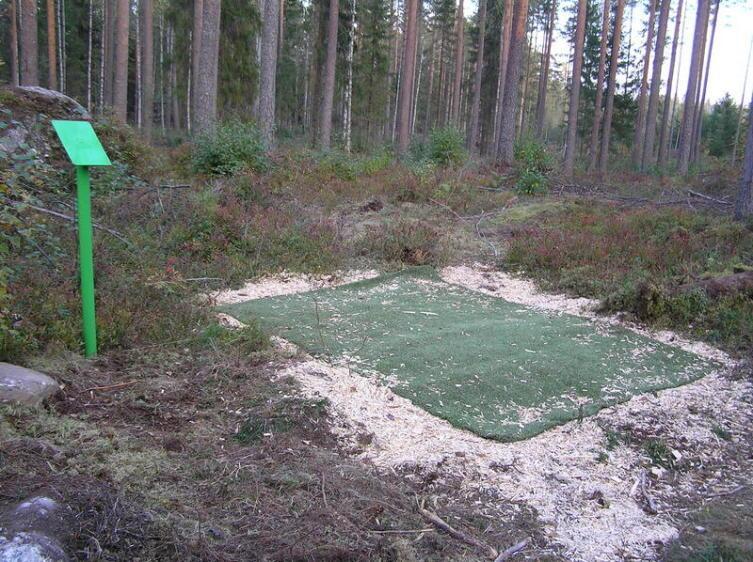 Оборудованная в лесу площадка для броска