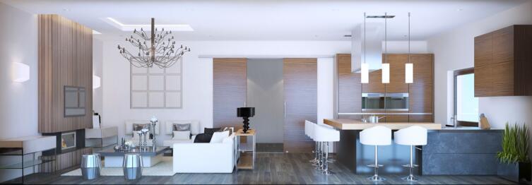 Гостиная комната студия в неоклассическом стиле, панорамный вид