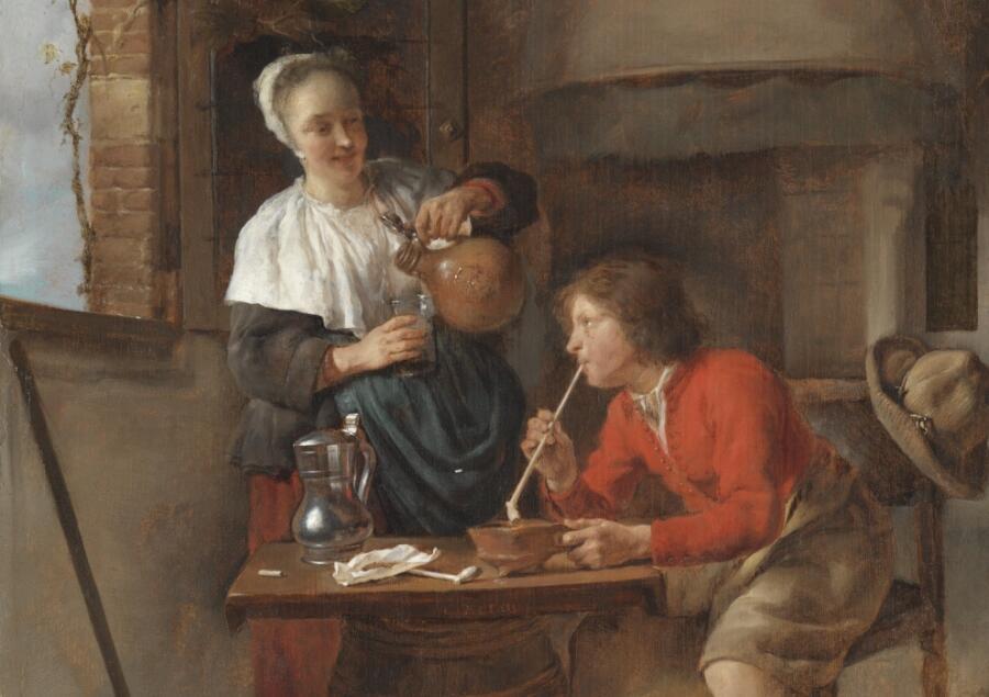 Габриель Метсю, «Юноша с трубкой и женщина, наливающая пиво», фрагмент, 1658 г.