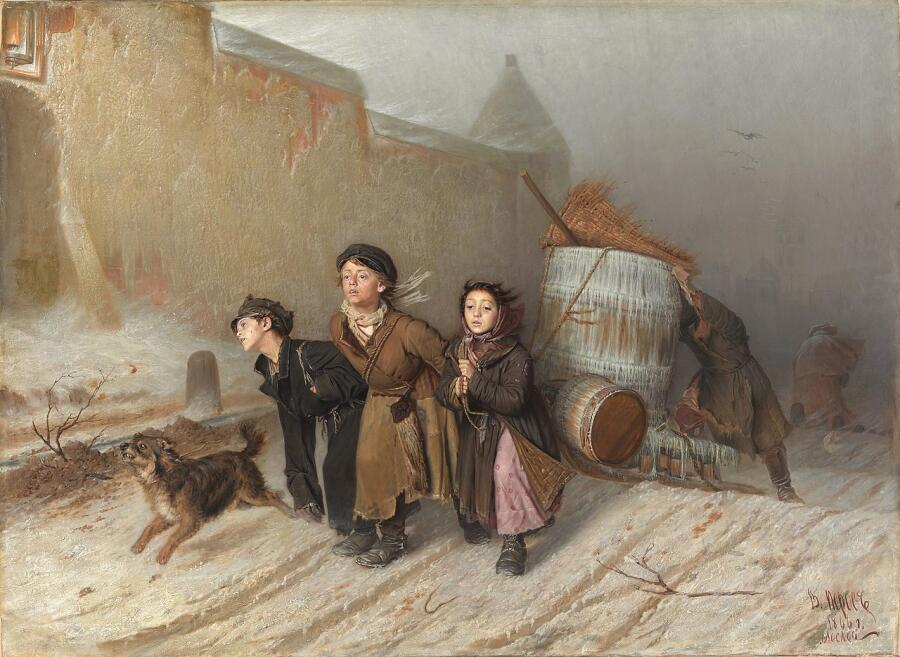 В. Г. Перов, «Тройка. Ученики-мастеровые везут воду.», 1866 г.