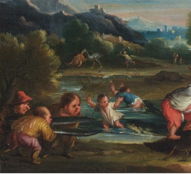Фаустино Бокки, «Нападение креветок», фрагмент «Нападение головастиков»