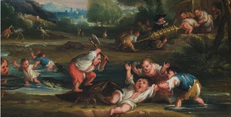 Фаустино Бокки, «Нападение креветок», фрагмент «Креветка кусает гнома»
