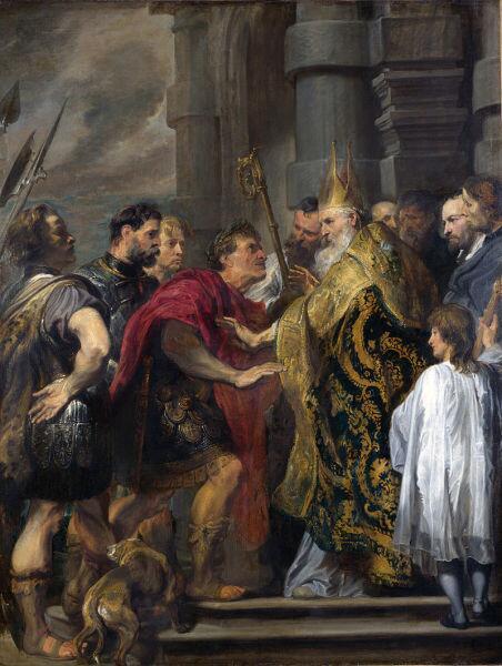 Ван Дейк, «Св. Амвросий не пускает Феодосия в церковь», XVII век