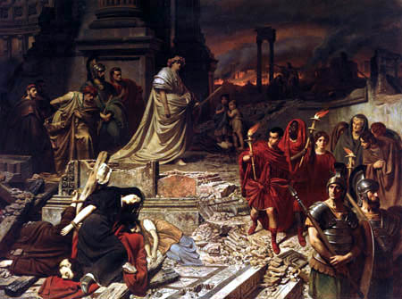 Карл Теодор фон Пилоти, «Нерон смотрит на горящий Рим», ок. 1861 г.