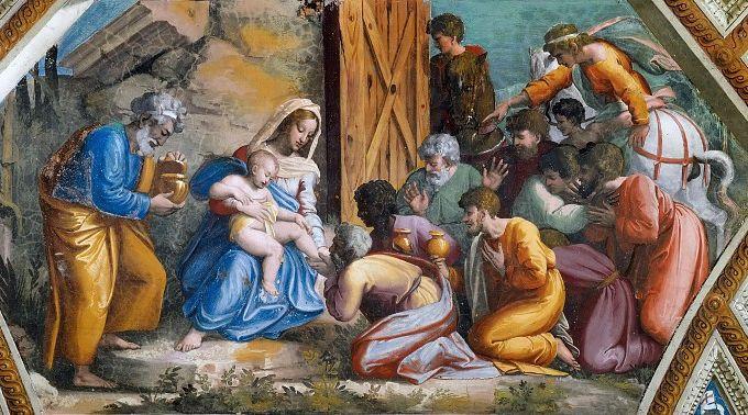 Рафаэль Санти, «Поклонение волхвов», фреска, 1519 г.