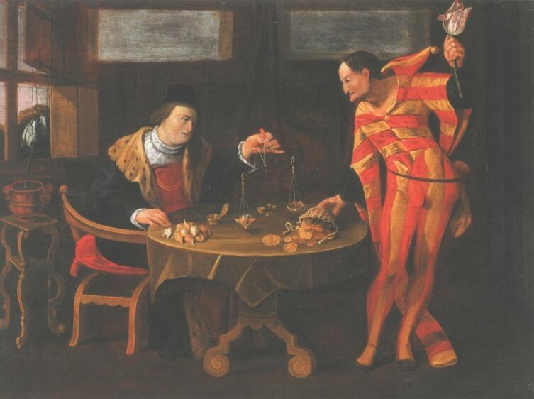 Торговец и тюльпаноман. Картина-карикатура середины XVII века