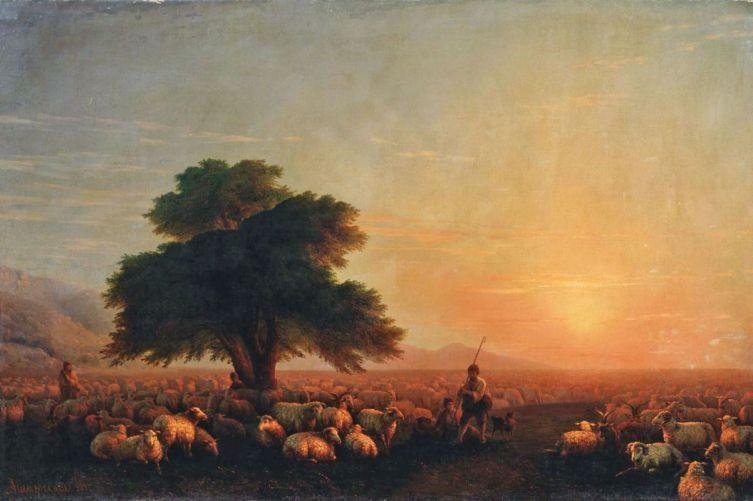 И. К. Айвазовский, «Пастухи со стадом при закате солнца», 1857 г.