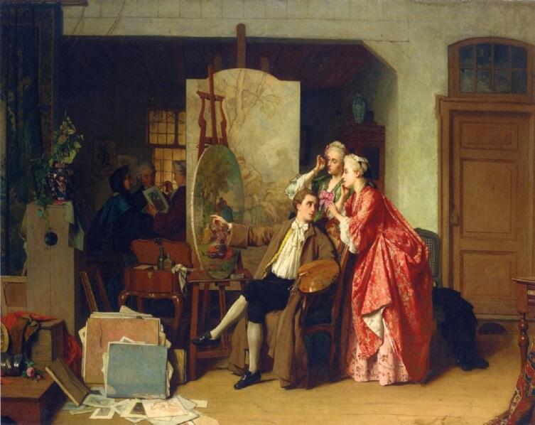 Жан Каролюс, «Визит в студию Ватто», 1866 г.