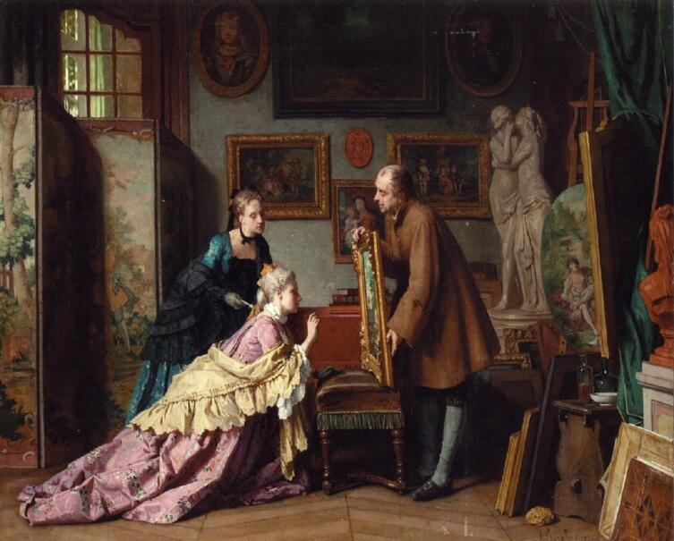 Жан Каролюс, «Визит в студию», 1889 г.