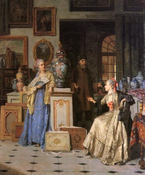 Жан Каролюс, «У антиквара», 1880 г.