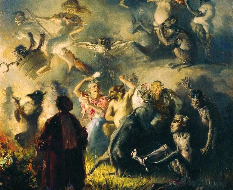 И. М. Прянишников, «На Лысой горе», фрагмент, 1879 г.