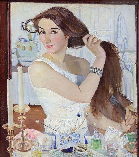 З. Е. Серебрякова, «За туалетом. Автопортрет», 1909 г.