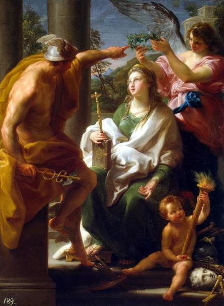 Помпео Батони, «Меркурий, коронующий Философию»