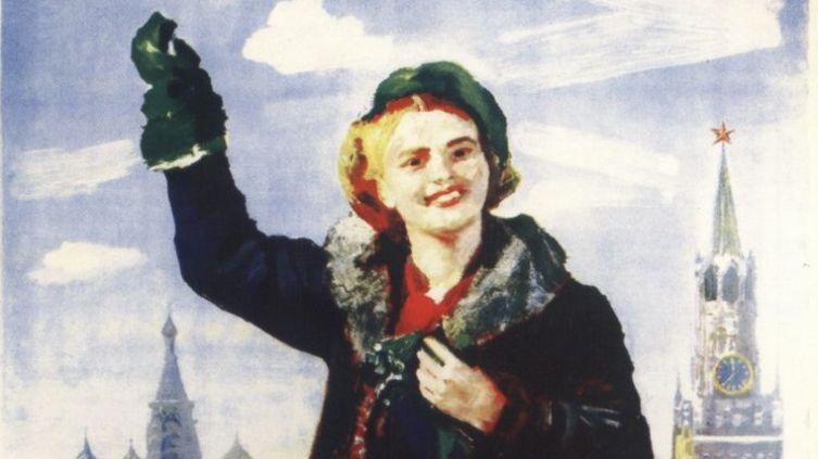 Б. В. Иогансон, фрагмент плаката «За счастливую юность голосует советская молодежь!»