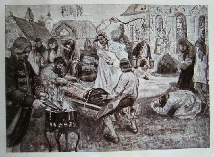 Иллюстрация работы В. Н. Курдюмова к энциклопедическому изданию «Великая реформа» на которой изображены истязания Салтычихи «по возможности в мягких тонах»