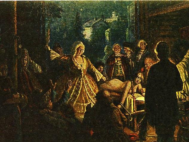 В.Н. Пчелин, открытка «Салтычиха», серия «Жертвы крепостного права», 1920 -е годы