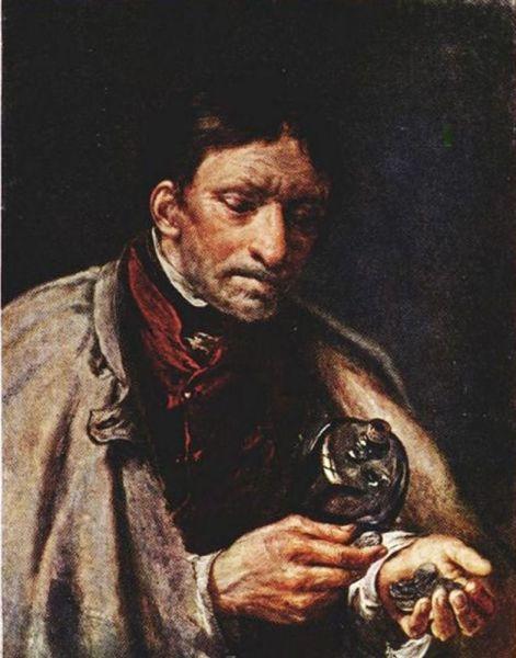 В. А. Тропинин, «Слуга со штофом, считающий деньги», 1850-е гг.