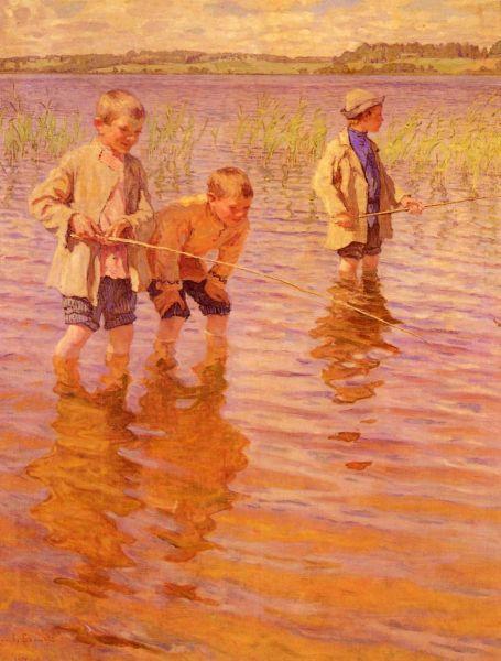 Н. П. Богданов-Бельский, «На послеполуденной рыбалке», 1917 г.