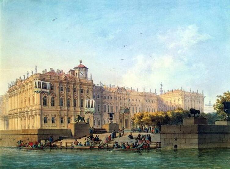 Людовик Франц Карл Бонштедт, «Набережная Невы у западного фасада Зимнего дворца», хорошо видна телеграфная башенка