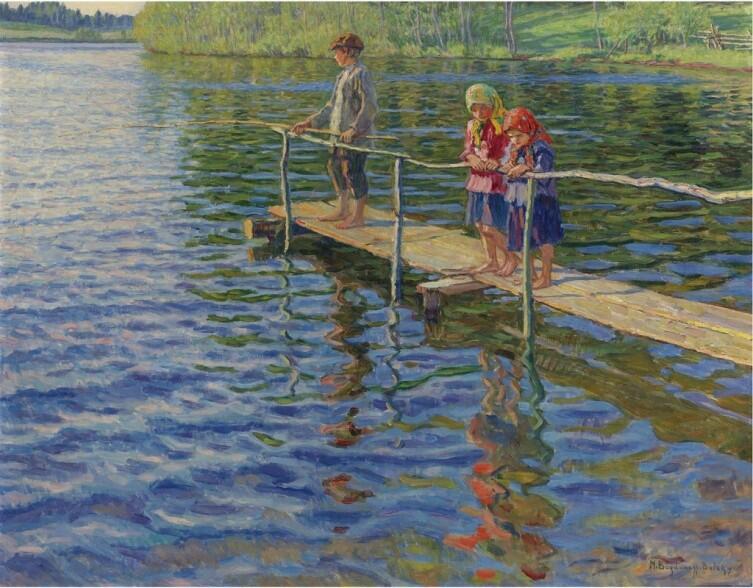 Н. П. Богданов-Бельский, «Рыбалка на реке»