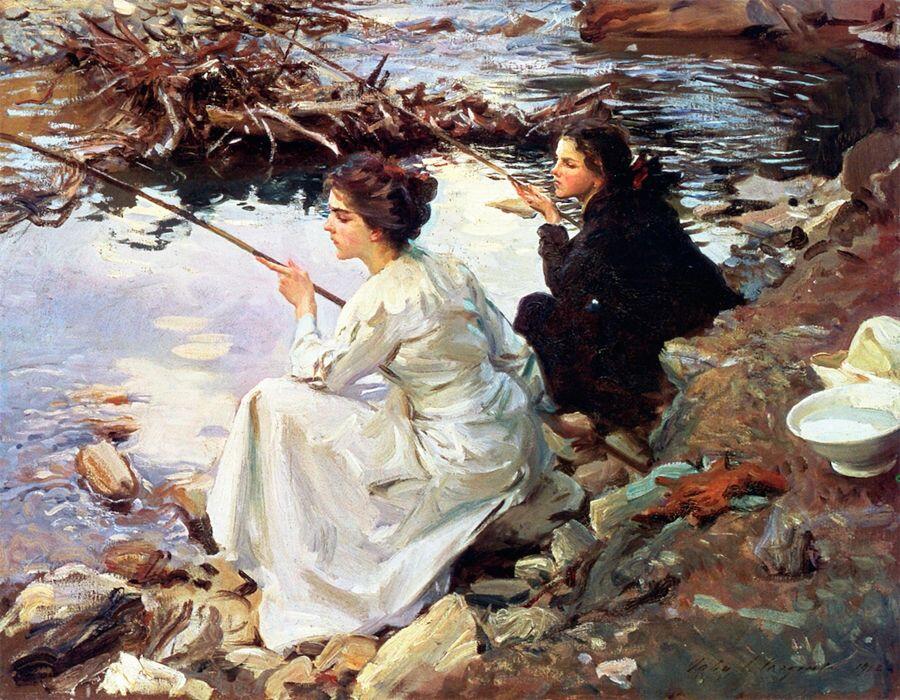 Джон Сингер Сарджент, «Две девушки на рыбалке», 1912 г.