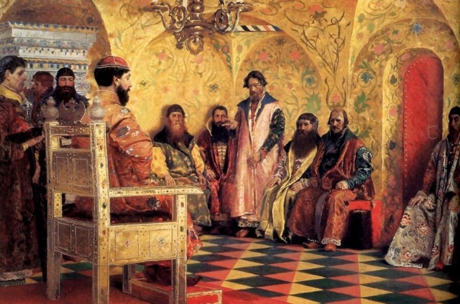А. П. Рябушкин, «Сидение царя Михаила Федоровича с боярами в его государевой комнате», 1893 г.