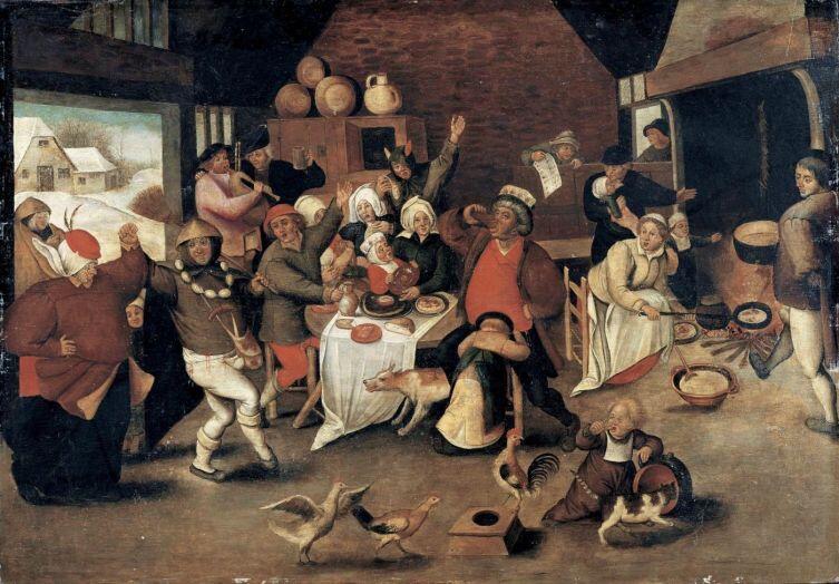 Питер Брейгель Младший, «Король выпивох (Шумный праздник в крестьянском доме)»