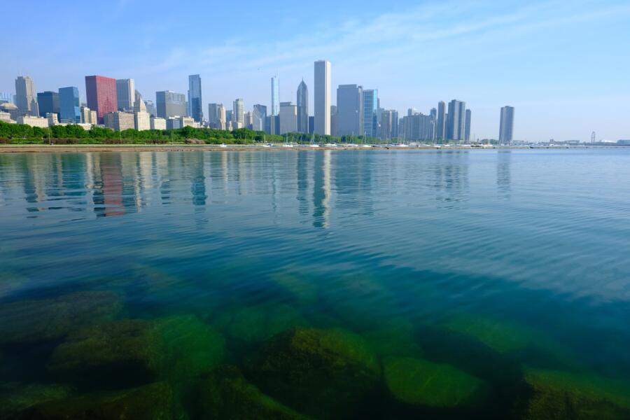 Город Чикаго, вид с озера Мичиган, штат Иллинойс