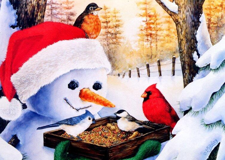 Джейн Мадай, «Снеговик с птичьей кормушкой»