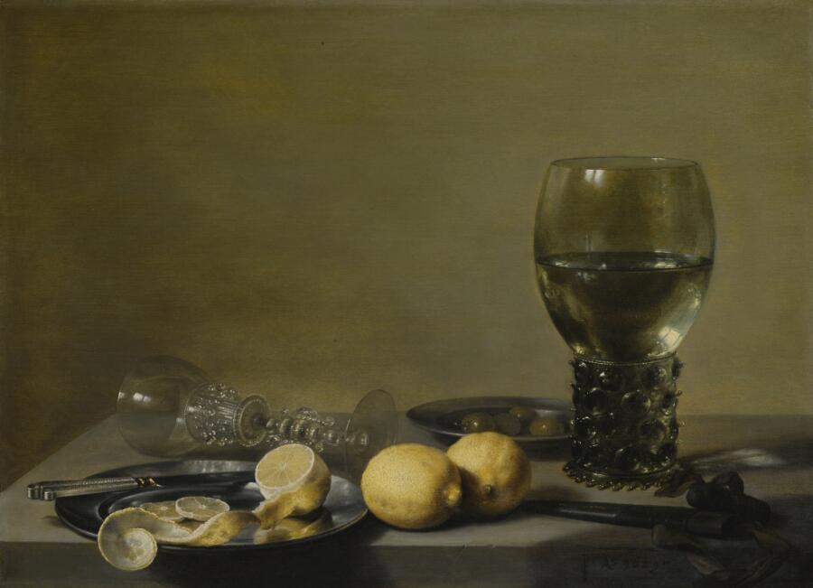 Питер Клас, «Натюрморт с лимонами, оливками, рёмером и стеклянным бокалом», 1629 г.