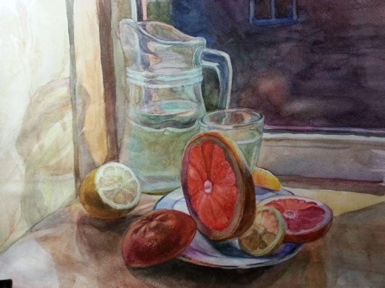 Т. В. Жукова, «Натюрморт с грейпфрутом», 2014 г.