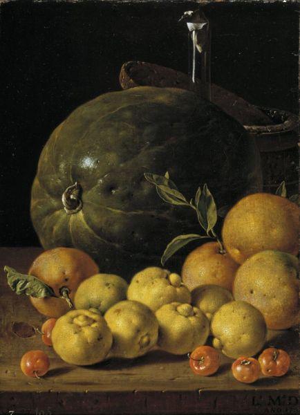 Луис Мелендес, «Натюрморт с лаймами, апельсинами, барбадосской вишней и арбузом», 1760 г.