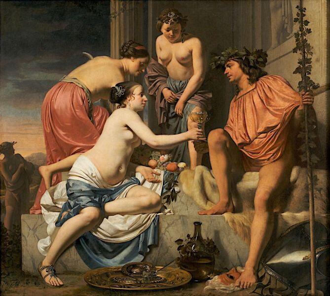Цезарь ван Эвердинген, «Нимфа преподносит молодому Бахусу вино, фрукты и цветы», 1678 г.