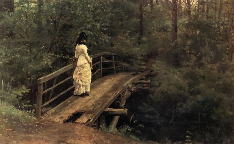И. Е. Репин, «Вера Алексеевна Репина на мостике в Абрамцеве», 1879 г.