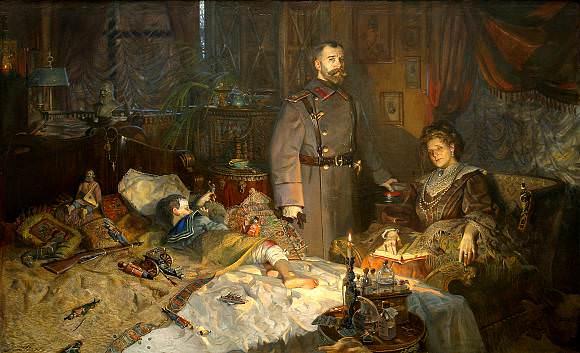 П. В. Рыженко, «Александровский дворец. Заточение», (№2 Триптих «Царская Голгофа»)