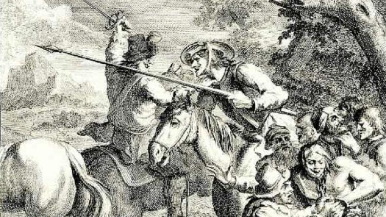 Уильям Хогарт, «Дон Кихот освобождает каторжников», фрагмент, 1738 г.