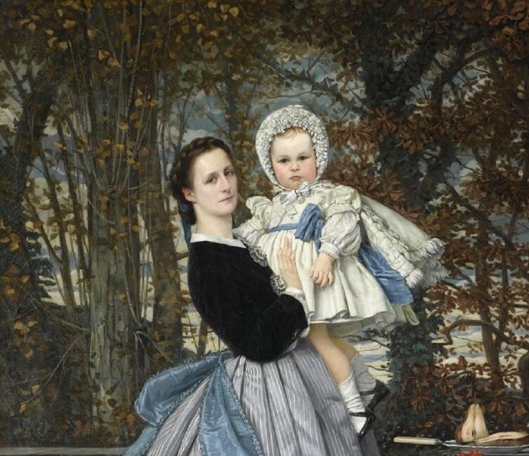 Джеймс Тиссо, «Портрет маркиза и маркизы Мирамон», фрагмент «Маркиза с дочерью», 1865 г.