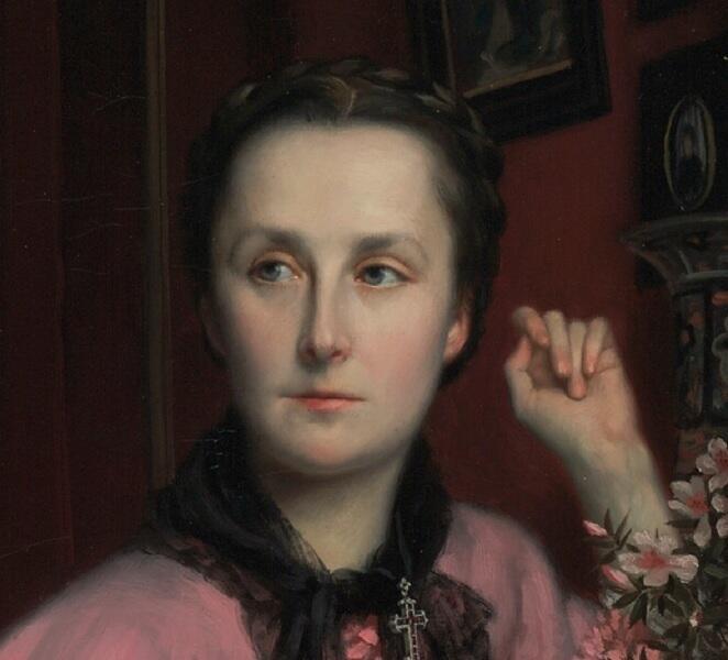 Джеймс Тиссо, «Портрет маркизы Мирамон», фрагмент, 1866 г.