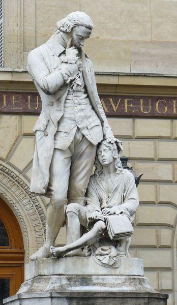 Памятник: Валентин Гаюи и его первый ученик Франсуа де Лезюер