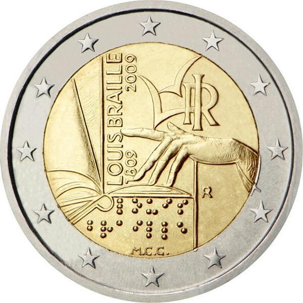 Памятная 2 евро монета, выпушеная в Италии в 2009 году