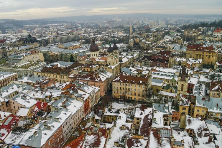 Город Львов зимой